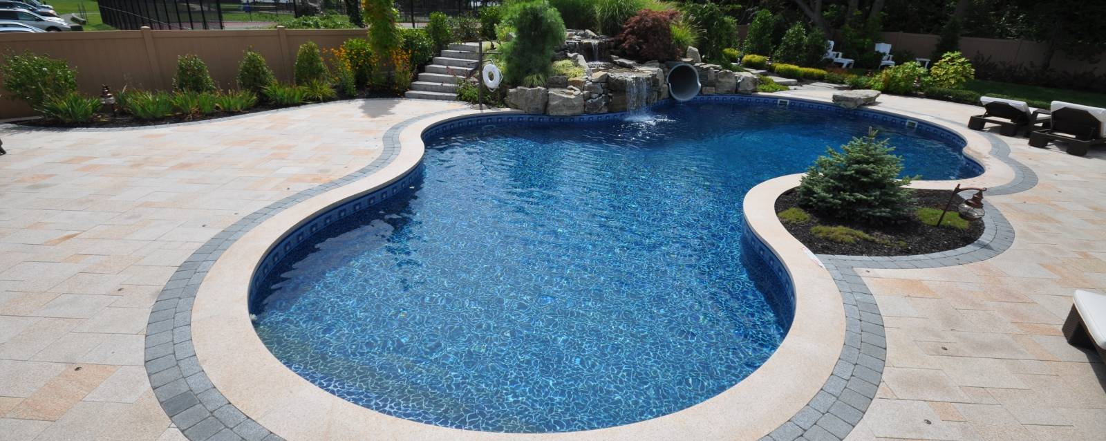 Inground swimming pool landscaping interior design ideas for Inground swimming pool designs