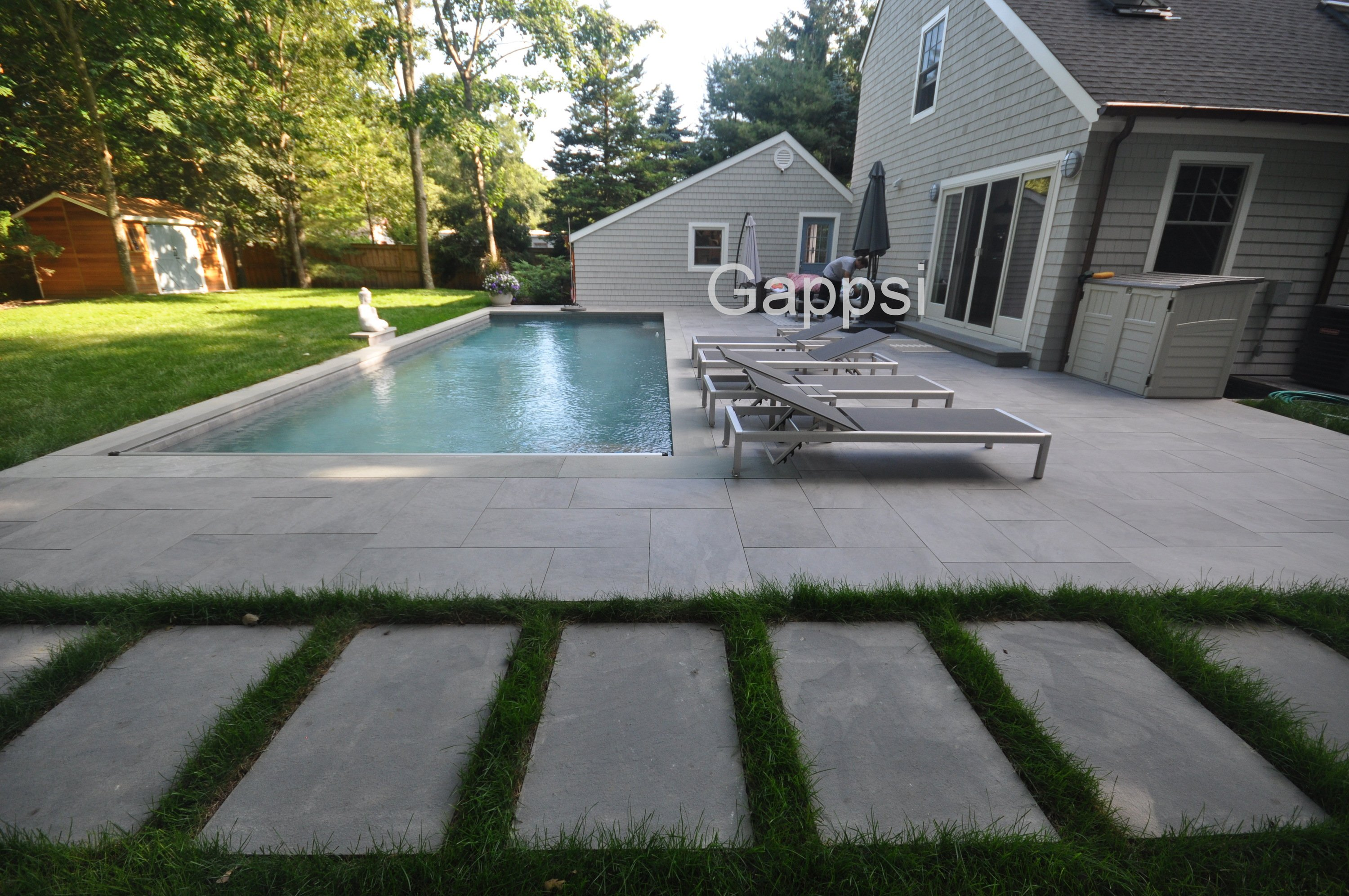 Porcelain pavers installed in west Hampton Long island NY