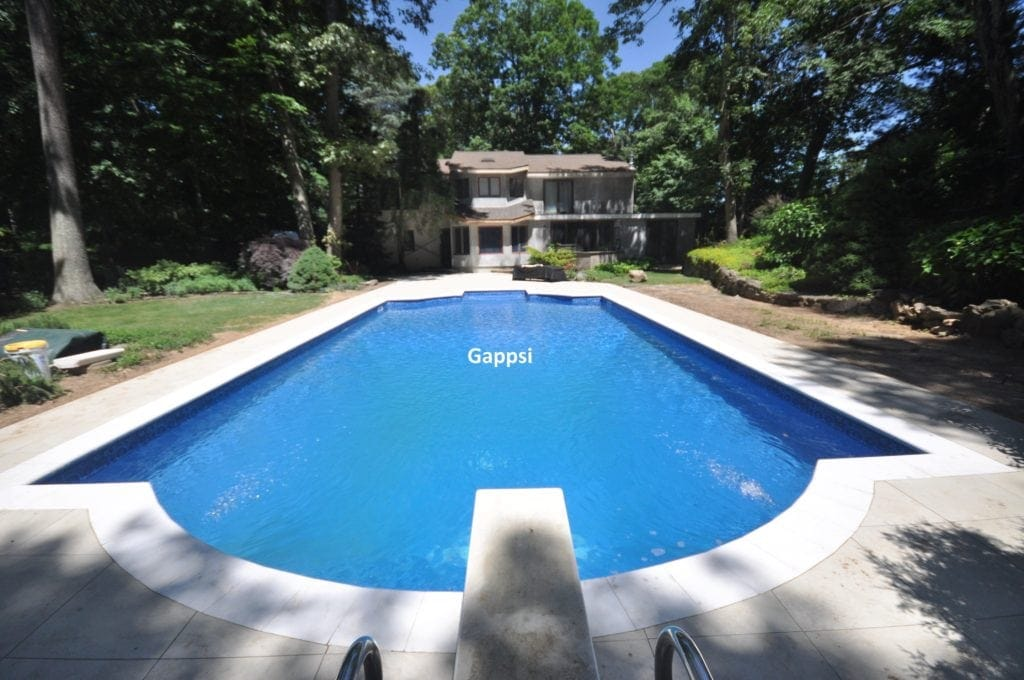 Sandblasted marble pool coping Smithtown NY